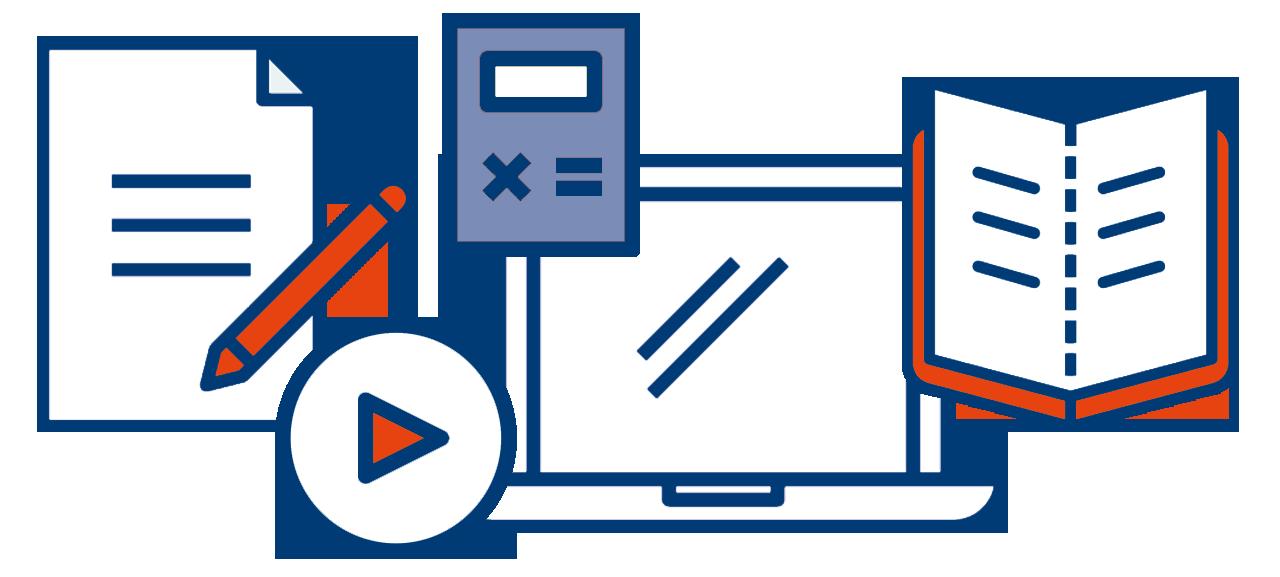 Abgebildet sind verschiedene Zeichen wie ein Papier mit Stift, eine Playtaste, ein Taschenrechner, ein Laptop und ein aufgeklapptes Buch