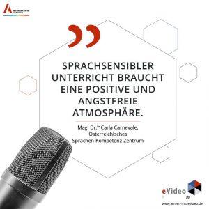 """Zitat: """"Sprachsensibler Unterricht gelingt nur, wenn es eine Struktur und ein Kollegium gibt, welches dahinter steht."""" Mag. Dr.in Carla Carnevale, Österreichisches Sprachen-Kompetenz-Zentrum"""