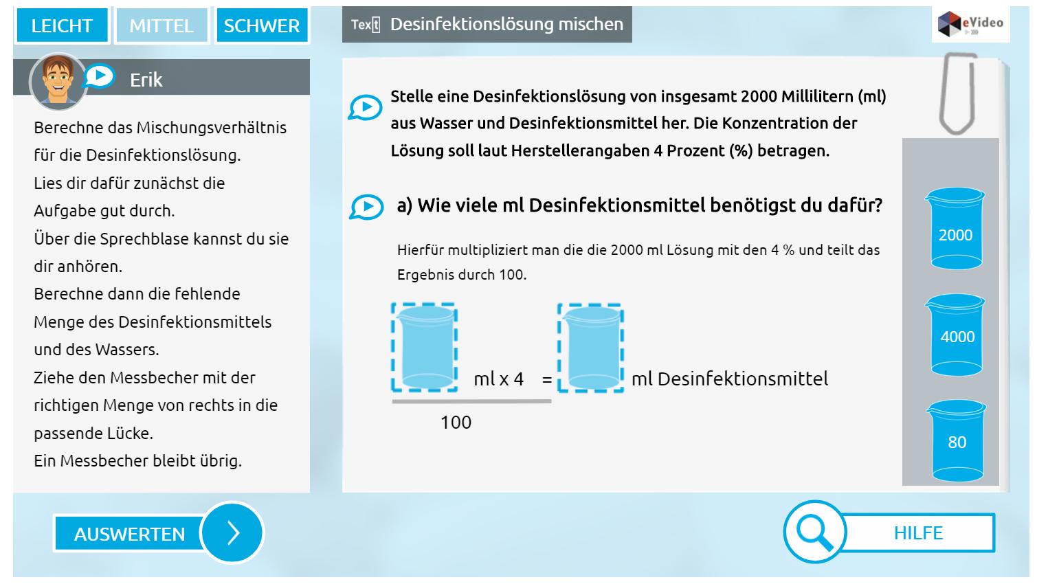 eVideo ``Rechnen in der Pflege``: Screenshot der Übung: Desinfektionlösungen