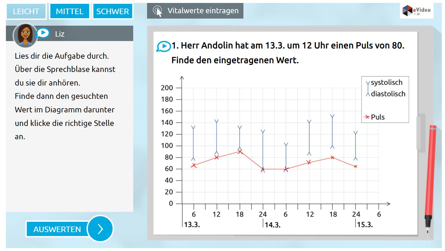 eVideo ``Rechnen in der Pflege``: Screenshot zur Übung: Vitalwerte berechnen