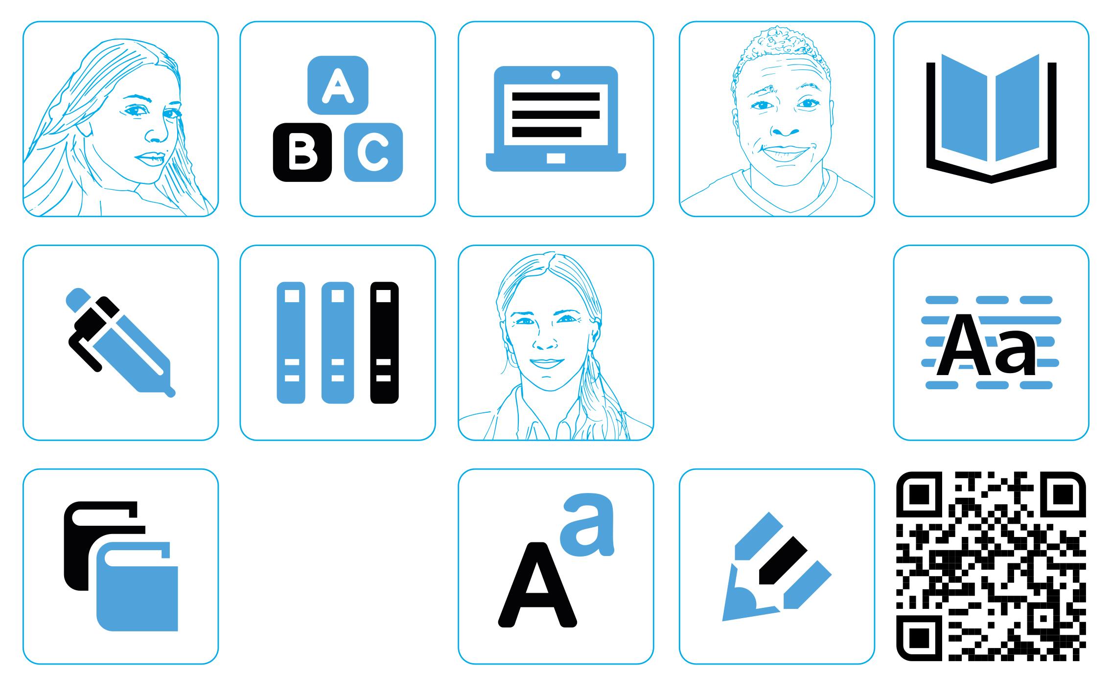 Banner mit verschiedenen Icons, die u. a. Buchstaben, Bücher, Texte, Köpfe, etc.