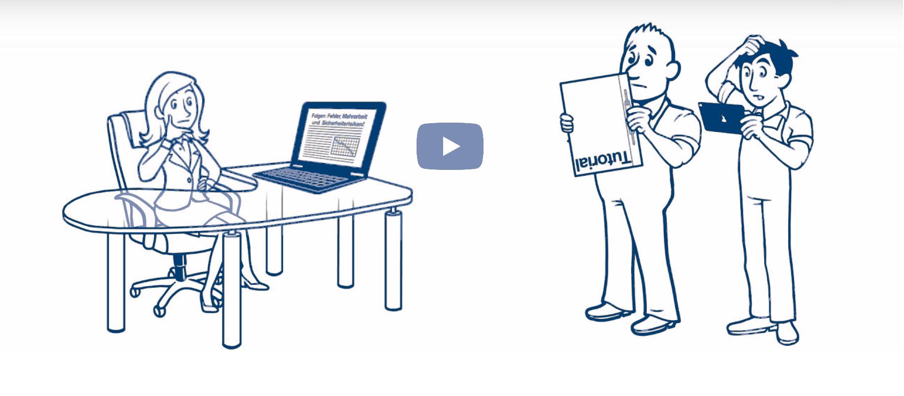 Screenshoot vom Erklärvideo. Eine Frau sitzt am Schreibtisch. Ihr gegenüber sind zwei Arbeiter, die Arbeitsanweisungen nicht richtig lesen können