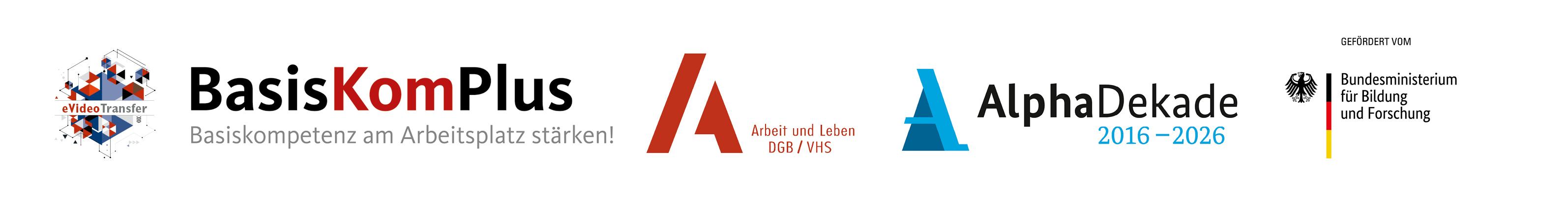 Logoleiste: eVideo, BasisKomPlus, Arbeit und Leben, Alpha-Dekade, BMBS